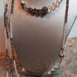 Crystal Necklace Beaded Jewelry Gray & Clear Nwot